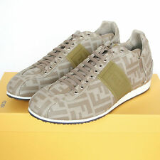 FENDI monogram FF zucca logo sneakers beige canvas trainers shoes 7-UK/8-US NEW