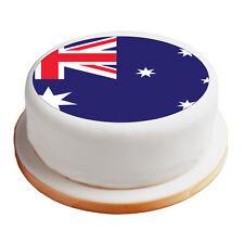 "Australian / Australia Flag - 8"" Pre-Cut Round Cake Topper Premium Icing Sheet"
