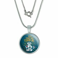 """Does Not Compute B9 Robot Lost In Space 0.75"""" Pendant w/ Silver Plated Chain"""