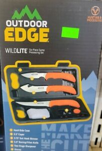 Outdoor Edge WildLite Game Processing Hunting Knife Set with Caping Knife, Gut-H