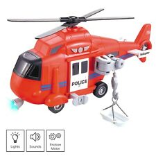 """Vokodo Toy Fire Rescue Helicopter 11"""" With Lights And Sounds Push And Go TE-51"""