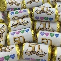 PERSONALISED MINI LOVE HEARTS SWEETS GOLDEN WEDDING ANNIVERSARY PARTY FAVOURS