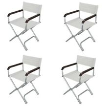 Relaxn Folding Deck Chair White Marine Alloy Directors Boat Seat Compact Light