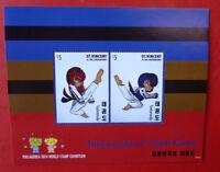 2014 St VINCENT Sth KOREA TAEKWONDO EXHIBITION STAMP MINI SHEET