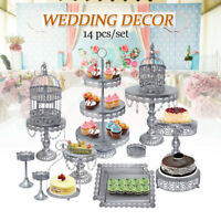 14pcs Classical Sliver Metal Cake Holder Party Cupcake Stand Wedding Plates Set