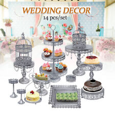 14pcs Classical Sliver Metal Cake Holder Party Cupcake Stand Wedding Plates Set