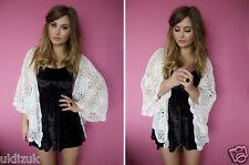 Topshop Oversize Ivory White Hand Knitted Crochet Kimono Cardigan  Size 10 12 14