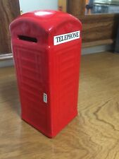 Vintage Bank-British Red Ceramic Telephone Bank With Stopper on Bottom