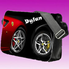 Personalised Boy's School / College Bag Large Messenger Reporter Bag Car Wheels