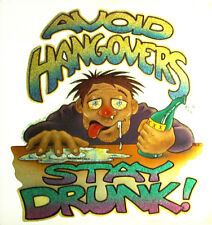 AVOID HANGOVERS STAY DRUNK VINTAGE BEER T-SHIRT IRON ON 1970s CRAFT BOTTLE VTG