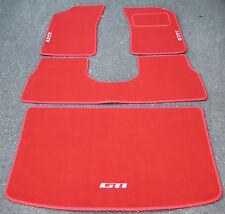 "Luxury Red Car Mats to fit Peugeot 205 + White ""GTI"" Logos + Boot Mat & Saddle"