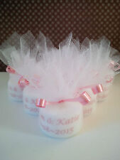 Personalised Candle Tealight Wedding Favours in Pink (Set of 10)