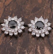 Sun Flower Black Onyx & CZ Round Silver Stud Drop Earrings