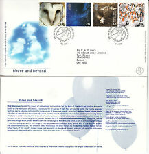 ABOVE AND BEYOND ROYAL MAIL FDC WITH FULL SET OF STAMPS AND SPECIAL H/S 2000