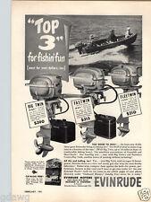 1951 PAPER AD Evinrude Outboard Motor Big Twin 25 HP Fastwin 14 Fleetwin 7.5