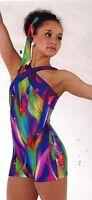 NWT FOIL Halter Shorty Unitard Biketard ACRO Gymnastics Print Plums Ch/Ladies