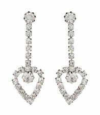with a crystal heart - Bay Clip On Earrings - silver drop earring