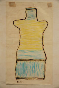 """Abstract Drawing """"Mannequin"""" signed Rolph Scarlett (AMERICAN, 1889-1984)"""