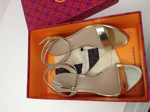 TORY BURCH Elizabeth Sandal Spark Gold 723 Mirror Metallic, Size 7