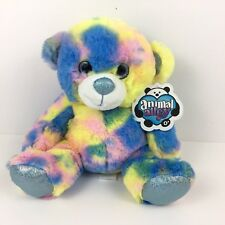 "Animal Alley Tie Dye Teddy Bear Yellow  Blue 9"" Stuffed Animal Sparkle Eyes New"