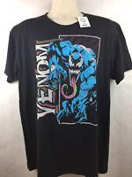 NWT Marvel Venom Mens Black 100% Cotton Short Sleeve T-Shirt Size Large