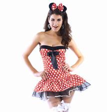 Sexy Exotic Minnie Mouse Polka Dot Strapless Mini Dress Halloween Costume SM