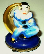 LIMOGES BOX - PIERROT CLOWN ON A GOLD CRESCENT MOON - FRENCH MIME