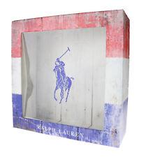 """Ralph Lauren Polo Tri Color Empty Gift Box 8.5"""" X 8.5"""" X 3"""""""