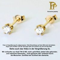 Echte Diamanten 0.12ct SI Ohrringe pair, Ohrstecker 14K 585 er Gelbgold