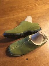 Cole Haan Leather Suede Sheepskin Lined Clogs, Green size 6.5 B