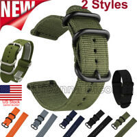 18/20/22/24mm Nylon Fabric Canvas Wrist Watch Band Strap Military Classic Buckle