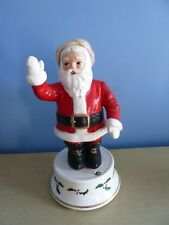 Vtg X-Mas Waving Santa Claus Revolving Windup Ceramic Musical Jingle Bells Japan