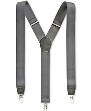 $90 NEW CLUB ROOM Men's GRAY SOLID ELASTIC STRETCH METAL CLIP-ON END SUSPENDERS