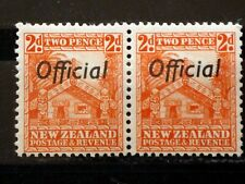 New Zealand 1936 SGO123 2d Orange pair, wmk. Multiple,P14 x 13 1/2, MNH. (B2622)