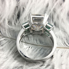green Moissanite Accent 14K White Gold 8ctw Moissanite Emerald Baguette Ring And