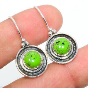 """Green Turquoise 925 Sterling Silver Israeli Jewelry Earring 1.17"""" W2422"""
