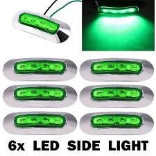 6x 12V 24V Green LED Clearance Side Marker Tail Light Lamp Trailer Truck Boat RV