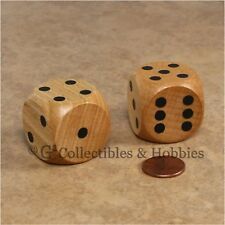 NEW Pair of Jumbo 30mm Natural Wood Dice Wooden RPG Board Game D6 Light Stained