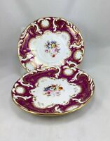 Antique Davenport Pair Of Porcelain Plates England 1849