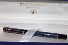 WATERMAN LAUREAT MARBLE  BLUE FOUNTAIN PEN FINE PT  NEW IN BOX