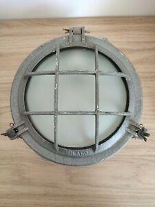 ANCIENNE LAMPE DE COURSIVE HUBLOT INDUSTRIEL MIMANO POLLICE ALU loft déco
