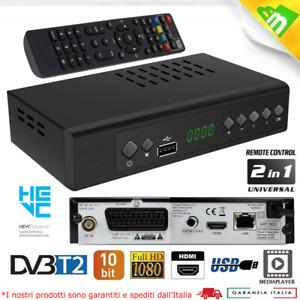 Decoder Ricevitore Digitale Terrestre Dvb-T2 Full HD Hdmi Scart Hevc H265 10Bit