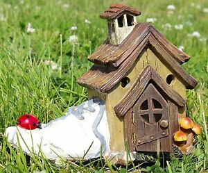 """Fairy Garden Miniature SHOE FAIRY HOUSE, 7.5"""" Tall, by Special T Imports"""