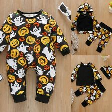 Newborn Infant Baby Unisex Halloween Pumpkin Costume Romper Jumpsuit Outfits