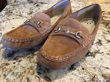 Isaac Mizrahi Live Annie Suede Flats Loafers Moccasin Slip On Shoes Tan 7 EUC