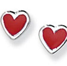 Argento sterling smaltato a forma di cuore orecchini a perno