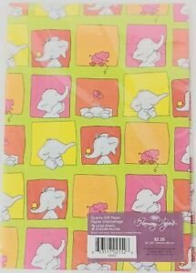 "Elephant Gift Wrap 2 sheets per pack 20""x 30"" Wrapping Paper Kids Unisex Vintage"