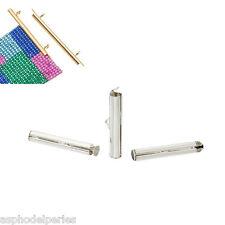 2 embouts argentés brillant pour tissage de perles 20 mm