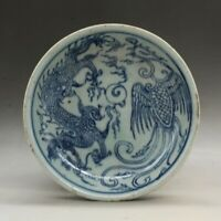 China old porcelain plate with blue and white Dragon and Phoenix porcelain plate
