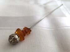 1980s Hat Pin Vintage Honey Amber Chips Filigree Finial Hatpin Brooch Stickpin